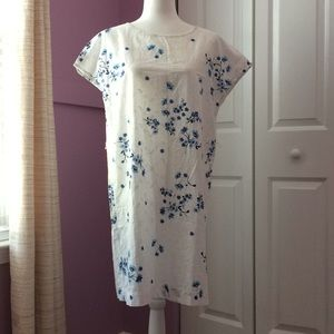Esprit cotton dress with blue embroidered flowers